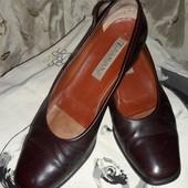 Удобные кожаные итальянские женские туфли, стелька 27 см