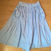 Голубая юбка в морском стиле 100%коттон, s
