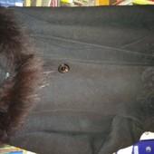 Пальто черное, шерсть, размер 46-48