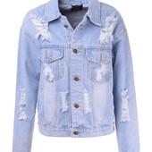 Женская джинсовая демисезонная куртка синего цвета