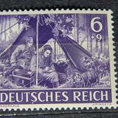 Почтовая марка. Третий Рейх! 1943 год. Войска Вермахта. 6+9 пф.