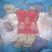 В лоте 3 фирменных футболки на некрупную девочку, р. 92-98 на 2-3 года