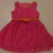 Розовое милое платье F&F на 12-18 месяцев