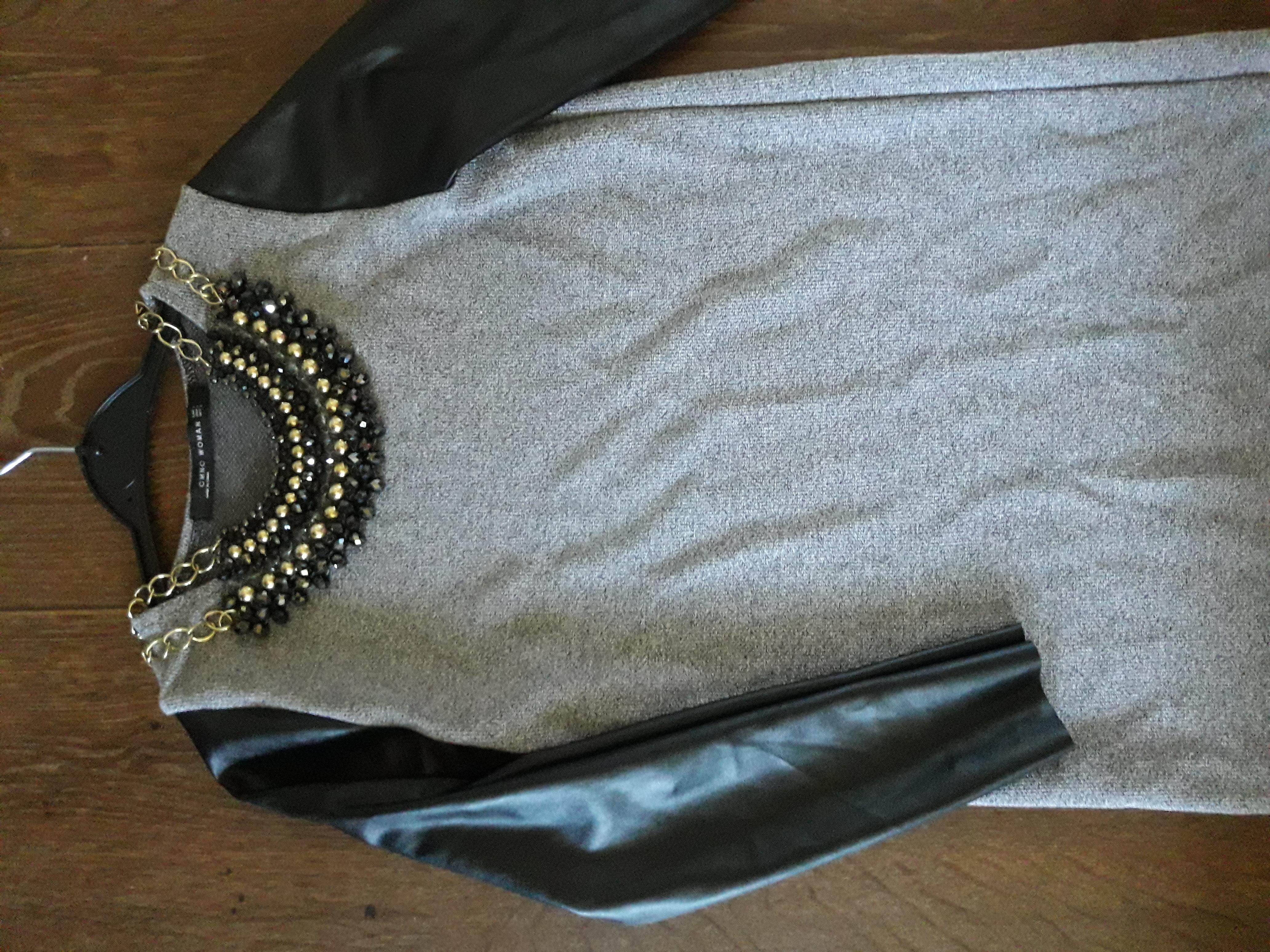 Платье со вставками кожзама