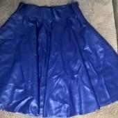 новая юбка из экокожи, высокая посадка, разм.42 или S, цвет - синий