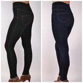 Всеми любимые Новые зимние лосины на МЕХу в стиле джинсов, черные или синие джеггинсы 42-50 размер