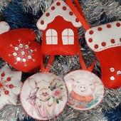 Набор (6шт) новогодних игрушек на елку  (ручная работа, handmade)