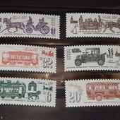 Распродажа почтовых марок СССР. серия из 6-ти марок. История городского транспорта. чистые. 1981 год