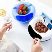 Двойная тарелка для семечек, орешков, фруктов и прочего с подставкой для телефона!