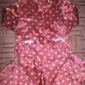 Пижама атласная розовая в горошек