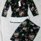 Стильный ангоровый костюм, верх с рубашкой обманкой и брошь,1 шт, есть зацепки на юбке+Подарок