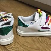 Спешите, пока есть выбор. Модные кроссовки белые/чёрные / серебро 31-36 р одни на выбор