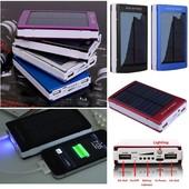 Зарядка Power Bank 90000 mAh на 2 usb+ led фонарик+солнечная панель.цвет случайный