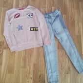 Лот вещей для девочки на 6-8 лет джинсы свитер