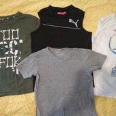 Лот 4 вещи - футболки и майки для мальчика 130-140см