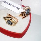 Нежные серьги с камнем -топаз и фианитами, медзолото, позолота 585 пробы