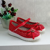 Легкие, комфортные туфельки для для малышек, стелька - кожа+супинатор, 2 цвета. 27-32 рр