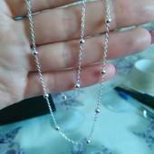Серебряная цепочка,925 проба , 40 см , плетение  - якорь с бусинками