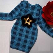 теплое платье для девочек, 2-х нитка набивная, начес, с Меховой звездой на рост 116-122