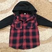 Стильная фланелевая рубашка-толстовка 2 в 1 Tu для мальчика 4-5 лет, рост 104 см в идеале