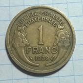 Монета Франции 1 франк 1939