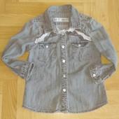 Красивая модная рубашка под джинс для девочки по бирке 4-5 лет. Отличное состояние!