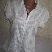 Нарядная коттоновая рубашка с вышивкой и пайетками14р.,грудь 52,Next,100% коттон