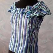 Летняя блузка, кофточка, полоска, цветок, коттон, 38 (44рус)
