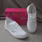 Кроссовки- кеды с дырочками, перфорация, белые, плоская подошва