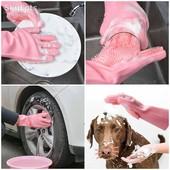 Хозяйственная силиконовая перчатка для уборки и мытья посуды Magic Silicone Gloves