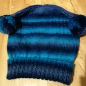 Демисезонная яркая шапочка с люриксом для девочки от 7 лет, подойдет и для взрослого по размеру!