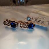 Красивые и нежные серьги с  синим цирконом,аккуратные можно деткам, позолота 585 пробы