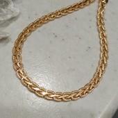 шикарный браслет, красивое плетение коса с насечками, ширина 4.5 мм, позолота 585 пробы