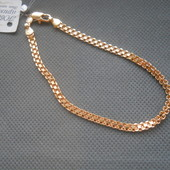 Браслет медсплав, покрытие золотом 18К/585 пробы, плетение итальянский Бисмарк (21см х 4мм)