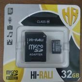 Новая карта памяти micro SD Hi-Rali 32 Gb 10 класс, для телефонов, плантешов