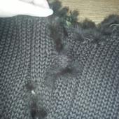 Шоколадный  свитер  крупной  вязки с меховыми  вставками, ПОГ 45-53 см