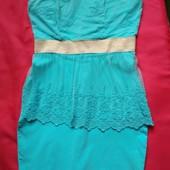 Нежное платье бандо, без бретелек