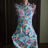 Платье бирюзовое в цветы