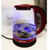 Электрочайник Чайник электрический дисковый стеклянный с подсветкой 1,8 л.Bitek bt-3110