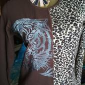 Катоновая кофточка с красивым принтом тигра.