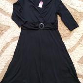 Стильное черное стейчевое платье миди Next, размер 16. Дорогой сток!