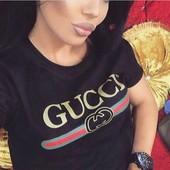 футболка Гуччи, трикотаж, черная м. на 44/46 идеально. на 48 в обтяжку можно