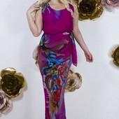 Шикарное шифоновое платье на подкладке 46-48 размер