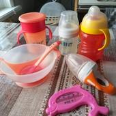 Посуда для малыша ниблер/ бутылочка/ непроливайка/ слюнявчик