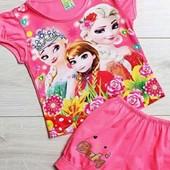 Красивый комплект с шортиками для девочки с Эльзой и Анной! в лоте розовый, 3-4-5 лет! 100%коттон!