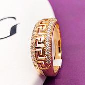 Кольцо медсплав, покрытие золотом 18К/585 пробы с фианитами (р.18)