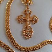новинка! очень красивый декоративный крестик с распятием, фианиты, позолота 585 пробы