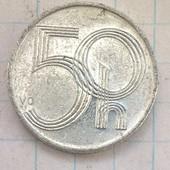 Монета Чехии 50 геллеров 1995