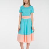 Платье миди с поясом цвет голубой R804. Размер М-ка.