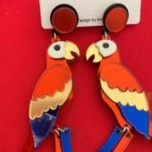 Очень необычные серьги-попугаи, Вы не останетесь незамеченной!